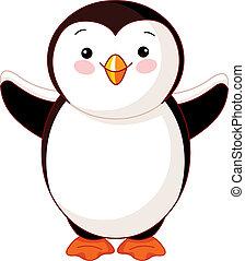 niemowlę, pingwin, sprytny