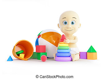 niemowlę, plaża, piramida, piłka, zabawki