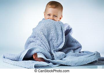 niemowlę, po, myć