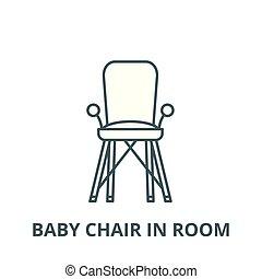 niemowlę, pokój, pojęcie, symbol, znak, linearny, wektor, ikona, krzesło, kreska, szkic