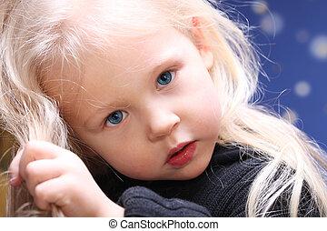 niemowlę, portret, mała dziewczyna, dziecko