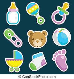 niemowlę przelotny deszcz, barwny, ikony