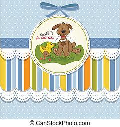 niemowlę przelotny deszcz, karta, z, pies, i, kaczka