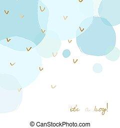 niemowlę przelotny deszcz, projektować, powitanie karta