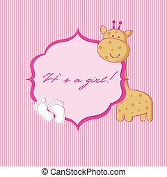 niemowlę, przybycie, dziewczyna, card., zawiadomienie