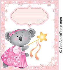 niemowlę, różowy, ułożyć, koala