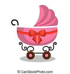 niemowlę, różowy, wóz, projektować, ikona