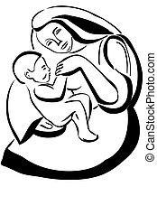 niemowlę, rys, kobieta dzierżawa, macierz