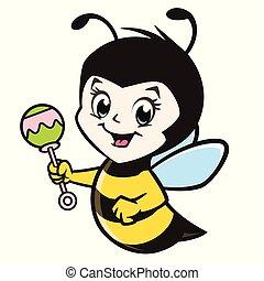niemowlę, rysunek, pszczoła