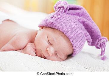 niemowlę, spanie, kapelusz, zabawny, fiołek