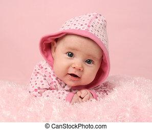 niemowlę, sprytny, dziewczyna