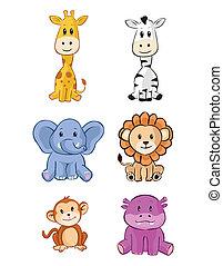 niemowlę, sprytny, komplet, zwierzę, safari