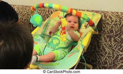 niemowlę, sprytny, krzesło, jego