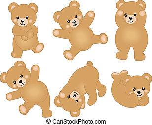 niemowlę, sprytny, niedźwiedź, teddy