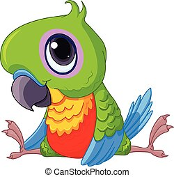 niemowlę, sprytny, papuga
