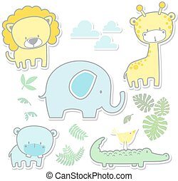 niemowlę, sprytny, pokój dziecinny, sztuka, zwierzęta