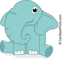 niemowlę, sprytny, słoń