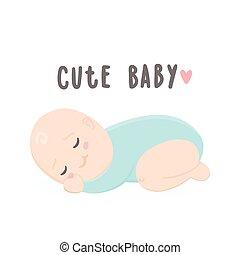 niemowlę, sprytny, sleeping., chłopiec
