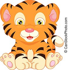 niemowlę, sprytny, tiger, rysunek