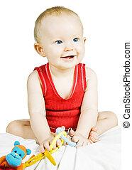 niemowlę, sprytny, uśmiechanie się, chłopiec