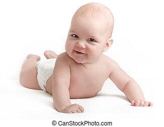 niemowlę, sprytny, uśmiechanie się