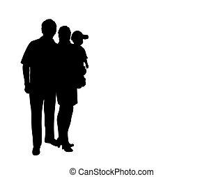 niemowlę, sylwetka, tatuś, mamusia, szczęśliwa rodzina