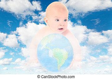 niemowlę, szklana kula, na białym, puszysty, chmury, w, błękitne niebo, collage