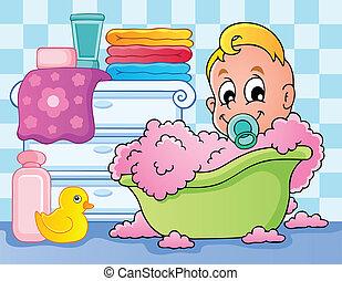 niemowlę, temat, pokój, wizerunek, 4