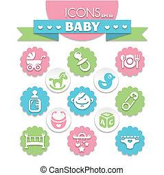 niemowlę, uniwersalny, ikony