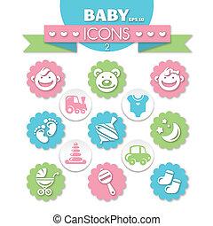 niemowlę, uniwersalny, zbiór, ikony