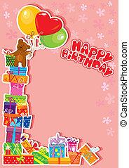 niemowlę, urodzinowa karta, z, miś