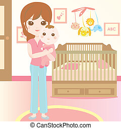 niemowlę, urodzony, transport, macierz, nowy
