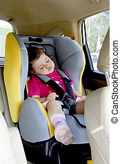 niemowlę, wóz, dziewczyna, spanie, miejsce