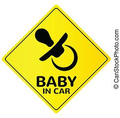 niemowlę, wóz, wektor, (2), znak