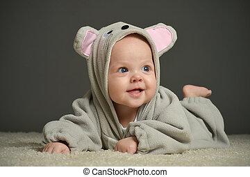 niemowlę, w, mysz, kostium