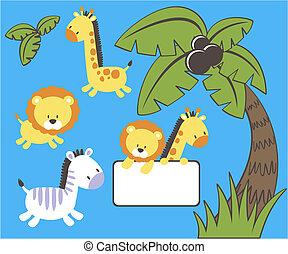 niemowlę, wektor, dżungla