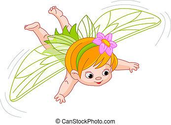 niemowlę, wróżka, lot