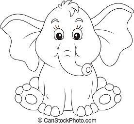 niemowlę, zdziwiony, słoń