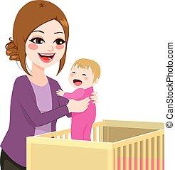 niemowlę, zrywanie, mamusia, bryk