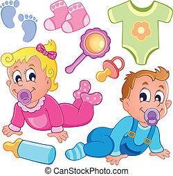 niemowlęta, temat, zbiór, 2