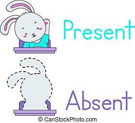 nieobecny, niniejszy, królik, student, maskotka
