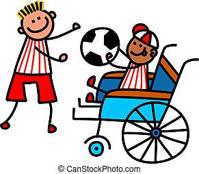 niepełnosprawny, chłopiec, piłka nożna