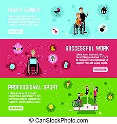 niepełnosprawny, chorągwie, komplet, ludzie