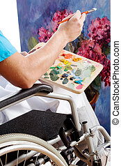 niepełnosprawny, closeup, malarz
