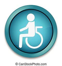 niepełnosprawny, ikona, medyczny, guzik