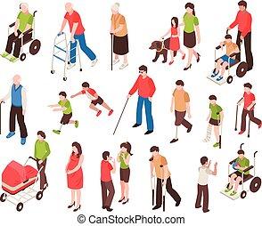 niepełnosprawny, isometric, komplet, ludzie