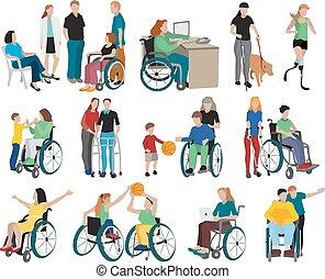 niepełnosprawny, komplet, ludzie, ikony