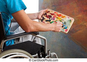 niepełnosprawny, malarz