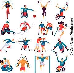 niepełnosprawny, płaski, sport, komplet, ludzie