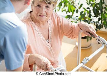 niepełnosprawny, pomagając, pielęgnować, emeryt